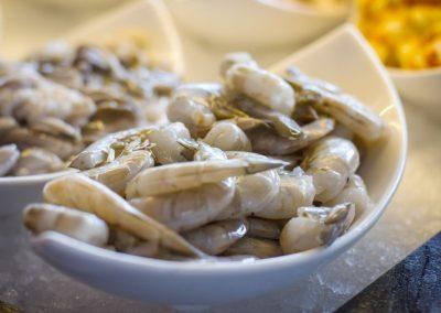 Haikky Teppanyaki-Zutaten Garnelen auf Eis
